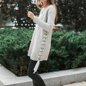 FREE PEOPLE Heart it Laces Sweater Grey Lace Up